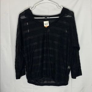 INC International Concepts striped sheer hoodie